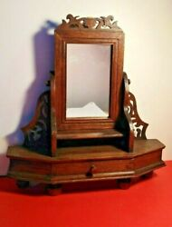 VINTAGE HAND CRAFTED PN GALLERY WOODEN SWIVEL MIRROR VANITY JEWELRY STAND DRAWER
