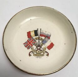 Antique For Right And Freedom World War Dish Flags Crest GBP 15.00