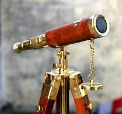 Handmade Nautical Brass Telescope With Wooden Tripod Collectible Marine Scope $48.98