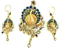 XIX C. VICTORIAN BROOCH-PENDANT EARRINGS 18 K. GOLD PEARLS ENAMEL SAPPHIRE RUBY