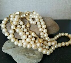 1920s Faux Pearl amp; Gold Plated Bead Heavy Flapper Necklace with Hidden Clasp 70quot; $48.67