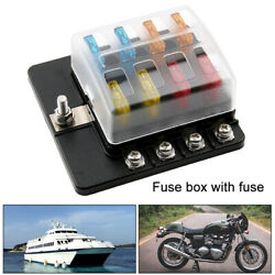 8 Way Blade Fuse Box Block Holder Terminal Circuit for Car Boat 32V With Fuses