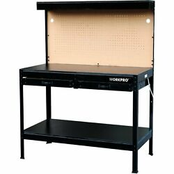 Workbench Work Light Garage Bench Home Workshop WORKPRO Tool Table Wood Sturdy