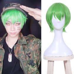 Happy Tree Friends HTF Flippy Fliqpy Green Cosplay Wig Short Straight Hair Anime