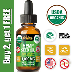 Organic Hemp Oil Drops for Pain Relief Stress Sleep PURE amp; NATURAL 1000mg $10.91