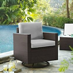Crosley Furniture Palm Harbor All Weather Wicker Outdoor Swivel Rocking Chair