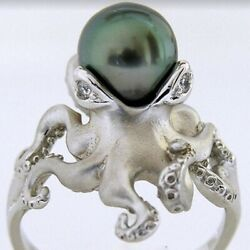 Empowering Jewelry Green Pearl Octopus Silver Plated Ring Sz6-10 Sea Theme Indie