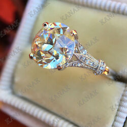 5.25Ct Round Cut Diamond 14K White Gold Finish Solitaire Vintage Engagement Ring