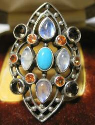 retired Sterling Nicky Butler Ring Garnet Turquoise and Moonstones NB 925 India