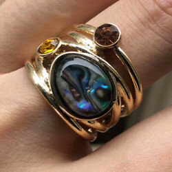 American Seller Oval Abalone Imitation Moonstone Wedding Ring Jewelry Gift Shell