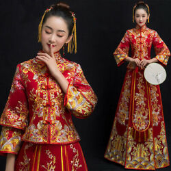 New Women Chinese Wedding Embroidery Bride Dress Qipao Cheongsam Gown Feast Suit $118.13