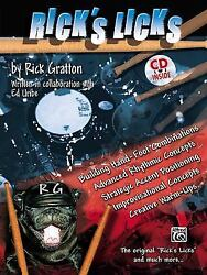 RICK'S LICKS By Rick Gratton Drum Instruction Lesson Book CD Like New Odd Time