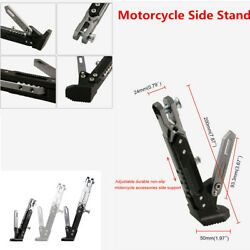CNC Motorcycle Side Stand Leg Kickstand Clamp Adjustable Black+Titanium Color $29.85