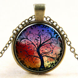 Tree of Life Glass Pendant Necklaces for Girls and Woman