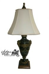 Antique Neoclassical Green Marble Lamp With Gilt Bronze Masks Swag Office Desk $450.00