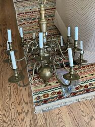 Two-Tier Dutch Brass 12 Light Chandelier Circa 1800's (32w x 31h)