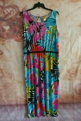 Womens plus size Maxi Dress Size 1X Sleeveless Ruby Rd Summer Vibrant colors $20.99