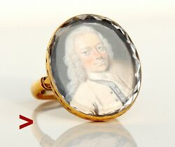 18th cent Antique Portrait Ring Rock Crystal solid 10K Gold US7.5  7.5 gr
