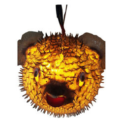 Lamps Lighting Ceiling yellow adorn Home Garden blowfish taxidermy Puffer fish $161.99