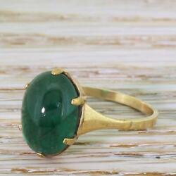 MID CENTURY 3.50ct OVAL CABOCHON EMERALD SOLITAIRE RING - 9k Gold - c 1965