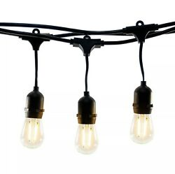 2X Hyperikon LED Outdoor Commercial String Lights 48#x27; 15 Hanging Sockets w Bulbs