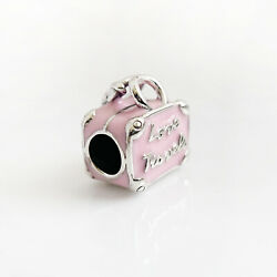 Authentic Pandora Charms 925 ALE Sterling Silver Bag Pink Enamel Bead Pendant