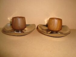 Vintage 1960's Solid American WALNUT and Aluminum Pair of Candlestick Holders