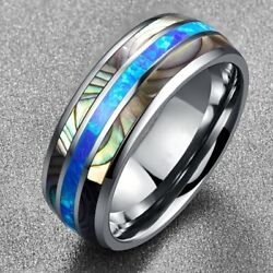 8mm Tungsten Ring with Abalone Shell Inlay Mens Wedding Ring Band Size 6-13 Gift