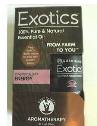 Exotics Aromatherapy - Energy - 100% Natural Essential Oils with Roll-On 100 mL