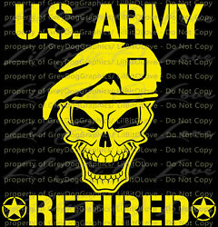 US ARMY RETIRED SKULL VINYL DECAL UNITED STATES ARMY STICKER MILITARY