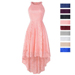 New Womens Summer Halter Neck Sleeveless Dress Cocktail Swing Lace Party Gown