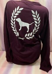 NWT victoria's Secret PINK Long Sleeve Burgundy Graphic Tee Shirt Size Large