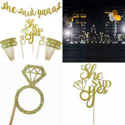 Gold She Said Yaaas Banner Yes Cake Topper Diamond Ring Cupcake Toppers For Wedd