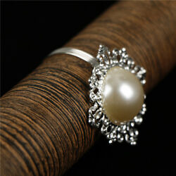 6xPearl Napkin Rings Serviette Buckle Holder Wedding Dinner Party Table Decor EP
