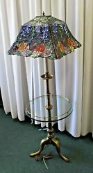 Antique Brass Stiffel Table Lamp with Tiffany Style 4 Sided Multi Rose Shade WOW $1199.99