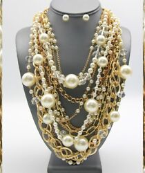 Statement Chunky Clear Ball Pearl Multi Gold Chain Necklace Pierced Earrings SEt