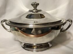 Antique Silver Plate Tureen Serving Dish