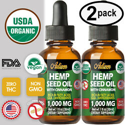 Cinnamon Hemp Oil Drops for Pain Relief Stress Sleep PURE amp; ORGANIC 1000mg $16.47