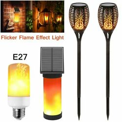 Outdoor LED Solar Flame Torch Light Flickering Flame Dancing Effect Garden Lamp