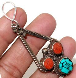 C10244 Turquoise Red Coral 925 Sterling Silver Plated Tribal Pendant 2.8