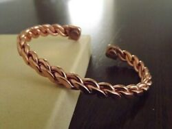 2 Pack Pure Copper Magnetic Bracelet Arthritis Pain Energy Therapy Cuff New