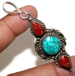 C10210 Turquoise Red Coral 925 Sterling Silver Plated Tribal Pendant 2.6