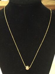 Estate 14kt Solid Gold Dimpled Single Ball Bead Necklace