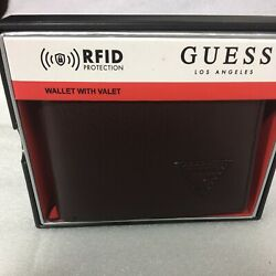 NEW GUESS BROWN BILLFOLD RFID PROTECTION WALLET & VALET 31G0130016 $42