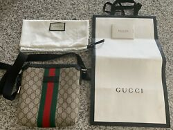 Authentic Gucci Web GG Supreme Flat Messenger Bag ~ PRE-OWNED