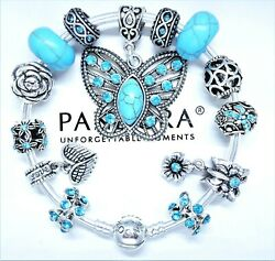 Authentic Pandora Silver Bracelet LOVE HEART With TURQUOISE European Charms.NIB