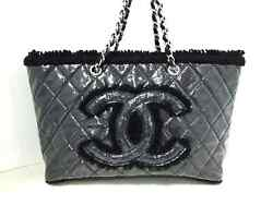 Auth CHANEL Patent Toile Chain Tote Black Vinyl Tweeds Shoulder Bag