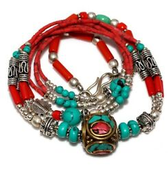 E4341 Turquoise Red Coral 925 Sterling Silver Plated Tribal Necklace 19