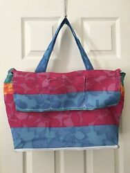 Women's Large Tote Beach Shoppers Multicolored Pink Blue Yellow Side Pockets $6.47