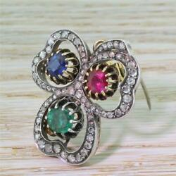 VICTORIAN EMERALD SAPPHIRE RUBY & ROSE CUT DIAMOND BROOCH  PENDANT - c 1890